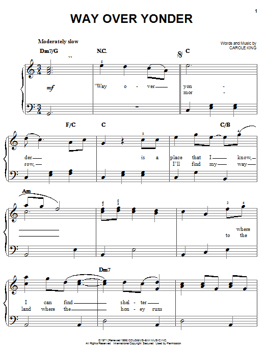 Way Over Yonder sheet music
