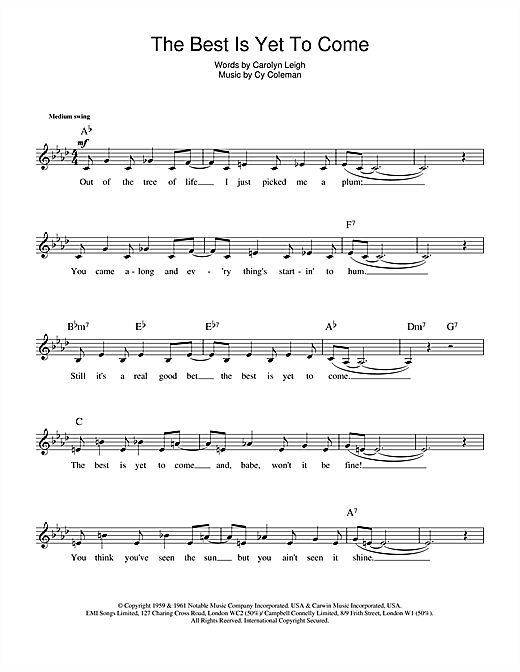 The Best Is Yet To Come sheet music