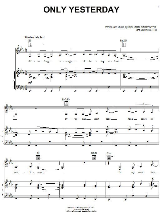 Only Yesterday sheet music