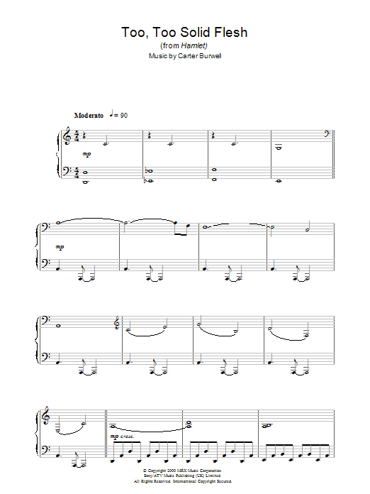 Too Too Solid Flesh (from Hamlet) sheet music