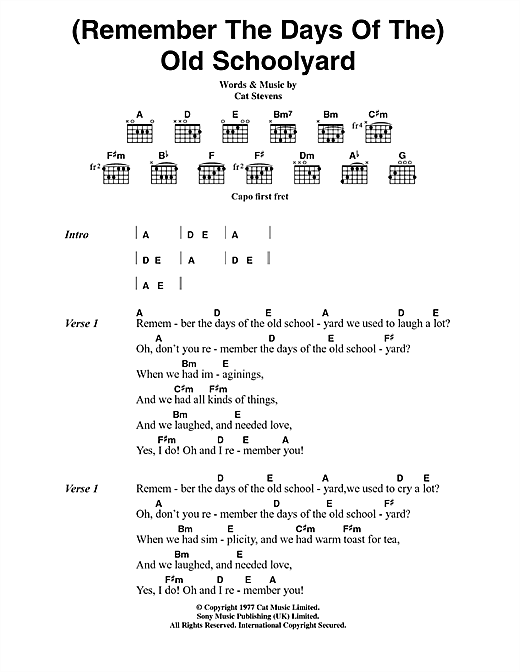 (Remember The Days Of The) Old Schoolyard (from the musical 'Moonshadow') sheet music