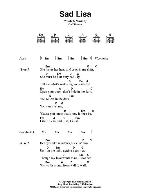 Sad Lisa sheet music