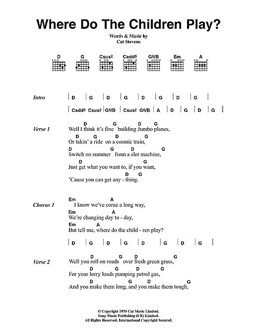 Where Do The Children Play? sheet music