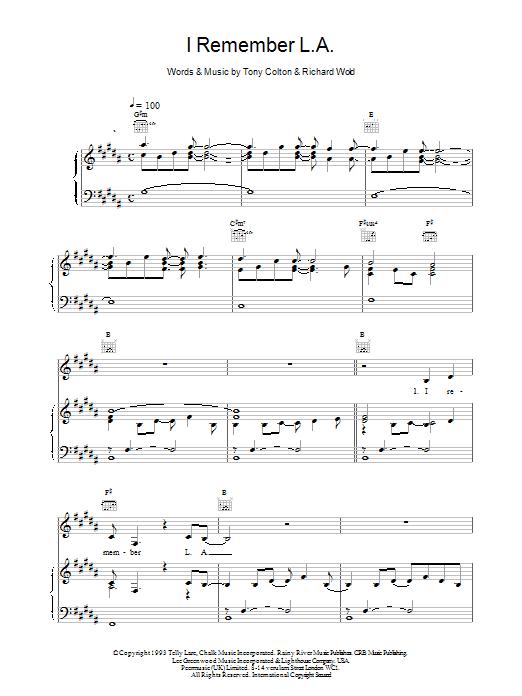 I Remember L.A. sheet music