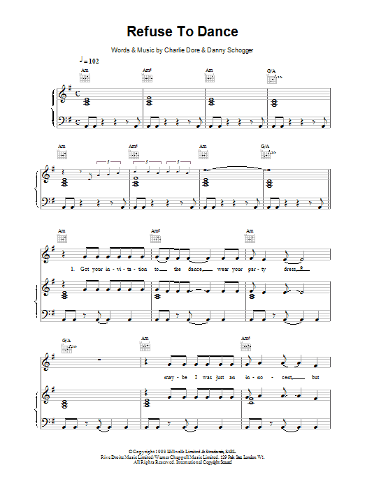 Refuse To Dance sheet music