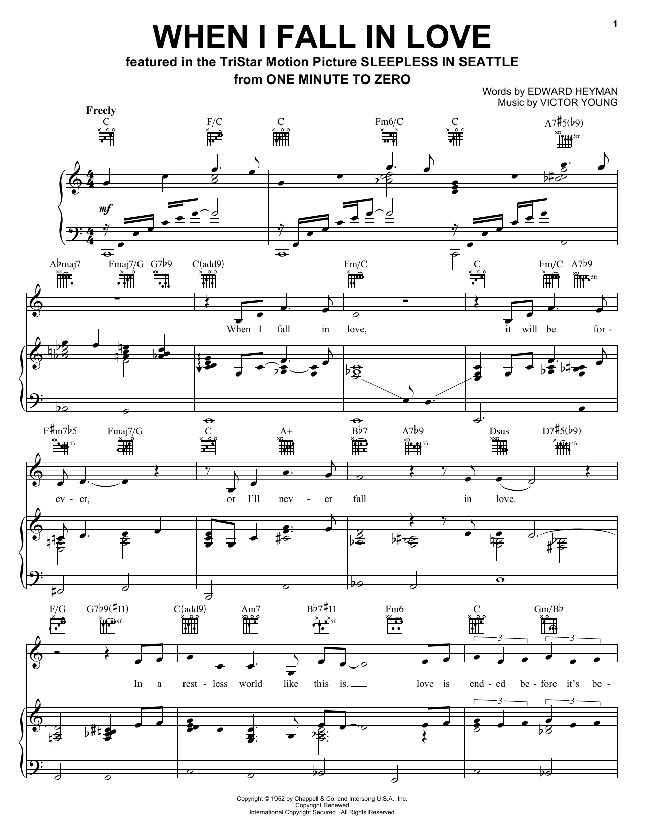 When I Fall In Love sheet music