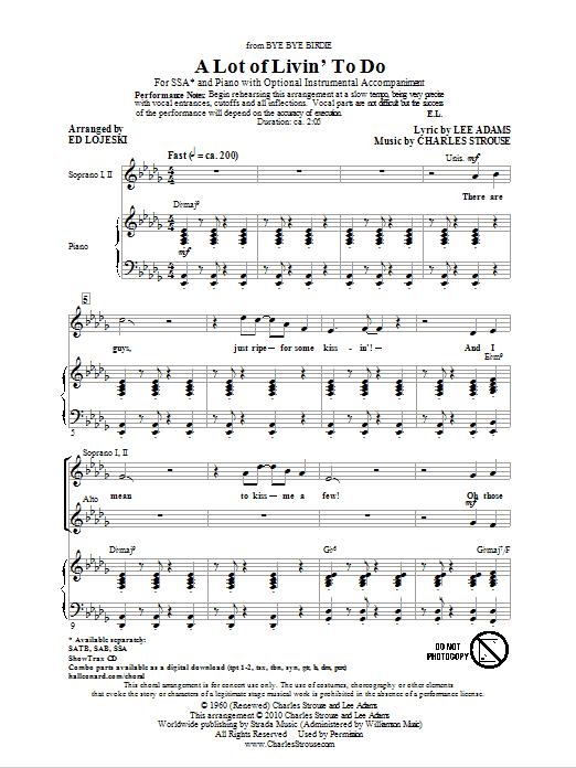 A Lot Of Livin' To Do (arr. Ed Lojeski) sheet music