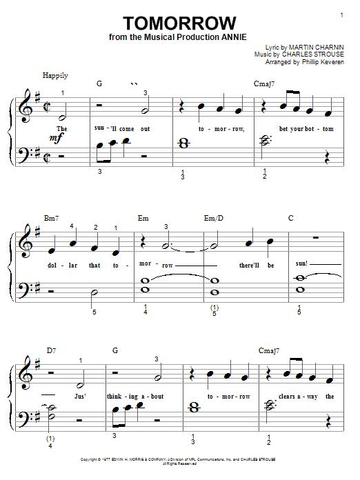Tomorrow (from Annie) sheet music