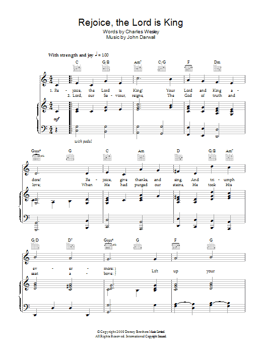 Rejoice The Lord Is King sheet music