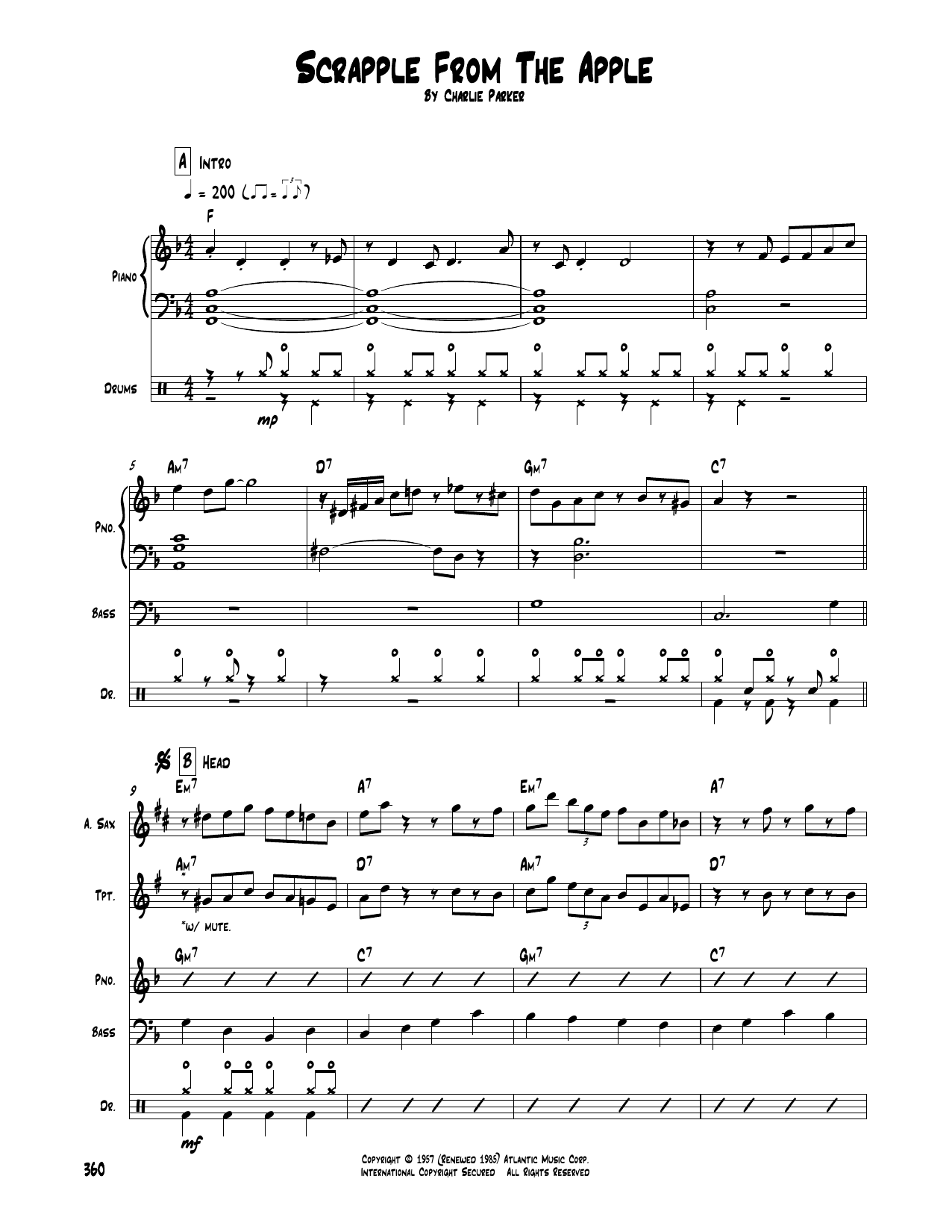 Charlie Parker Scrapple From The Apple Sheet Music Download Pdf Score 97222