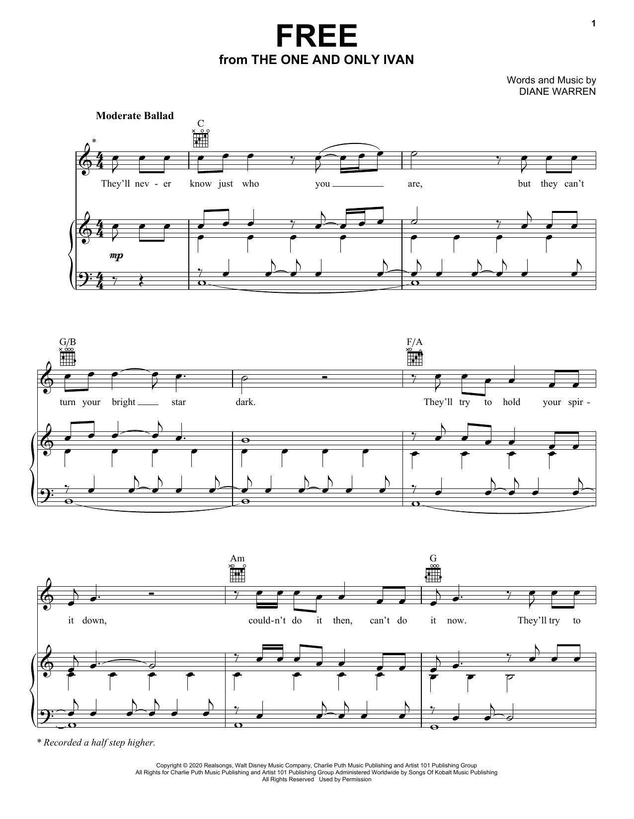 Charlie Puth Free From Disney S The One And Only Ivan Sheet Music Notes Download Pdf Score Printable