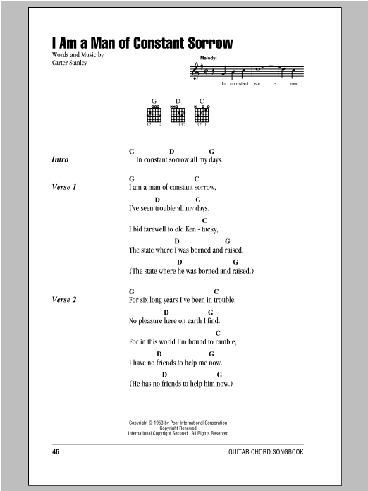 I Am A Man Of Constant Sorrow sheet music