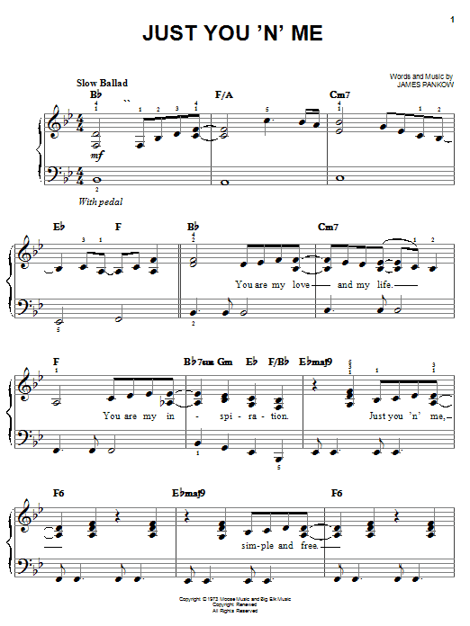 Just You 'N' Me sheet music