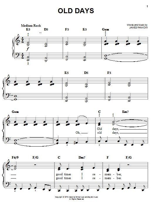 Old Days sheet music