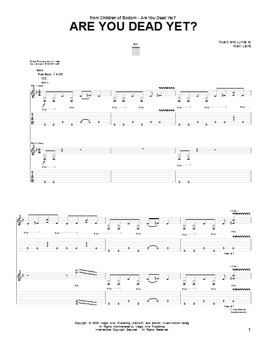 Are You Dead Yet? sheet music