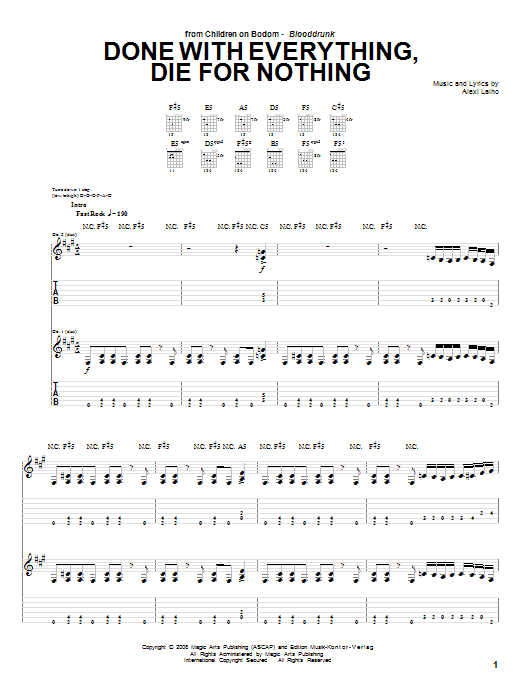 Done With Everything, Die For Nothing sheet music