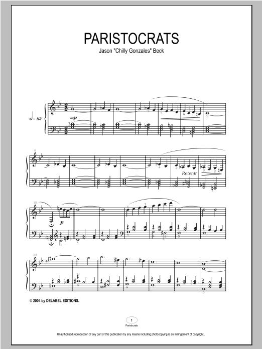 Paristocrats sheet music