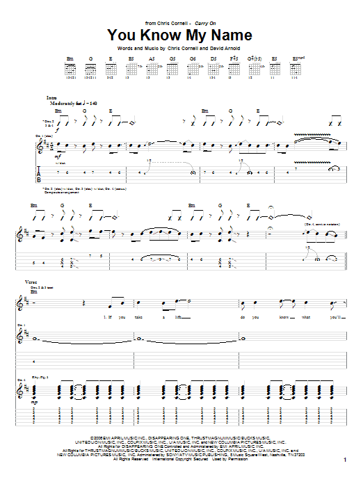 You Know My Name sheet music
