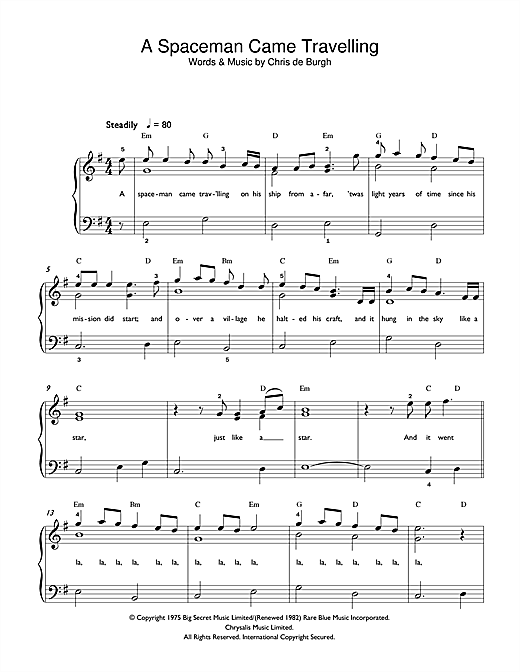 A Spaceman Came Travelling sheet music