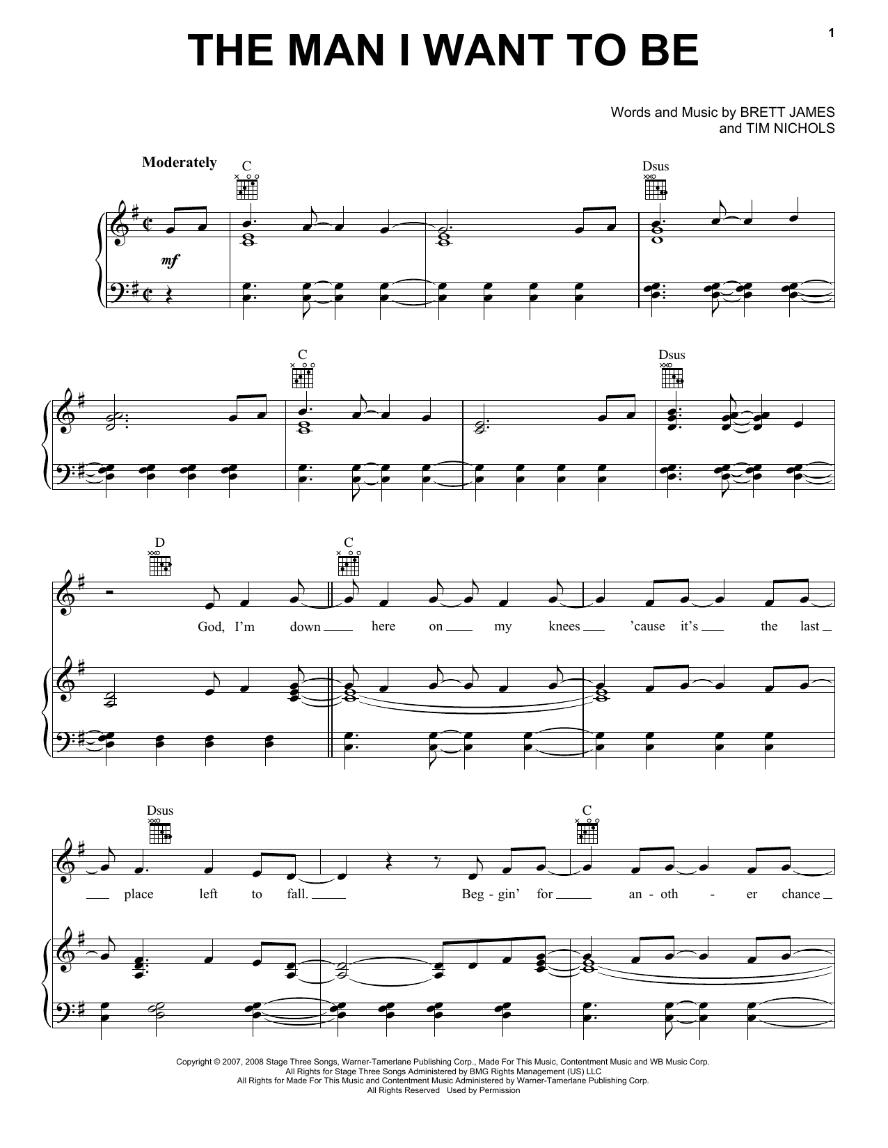 The Man I Want To Be sheet music