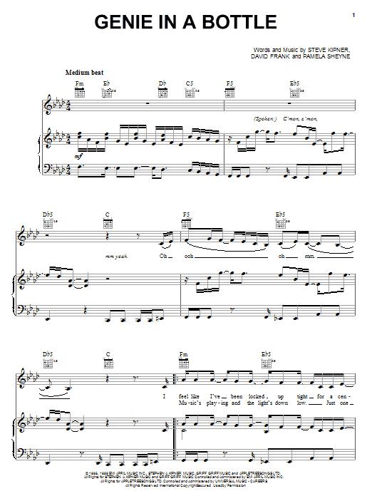 Genie In A Bottle sheet music