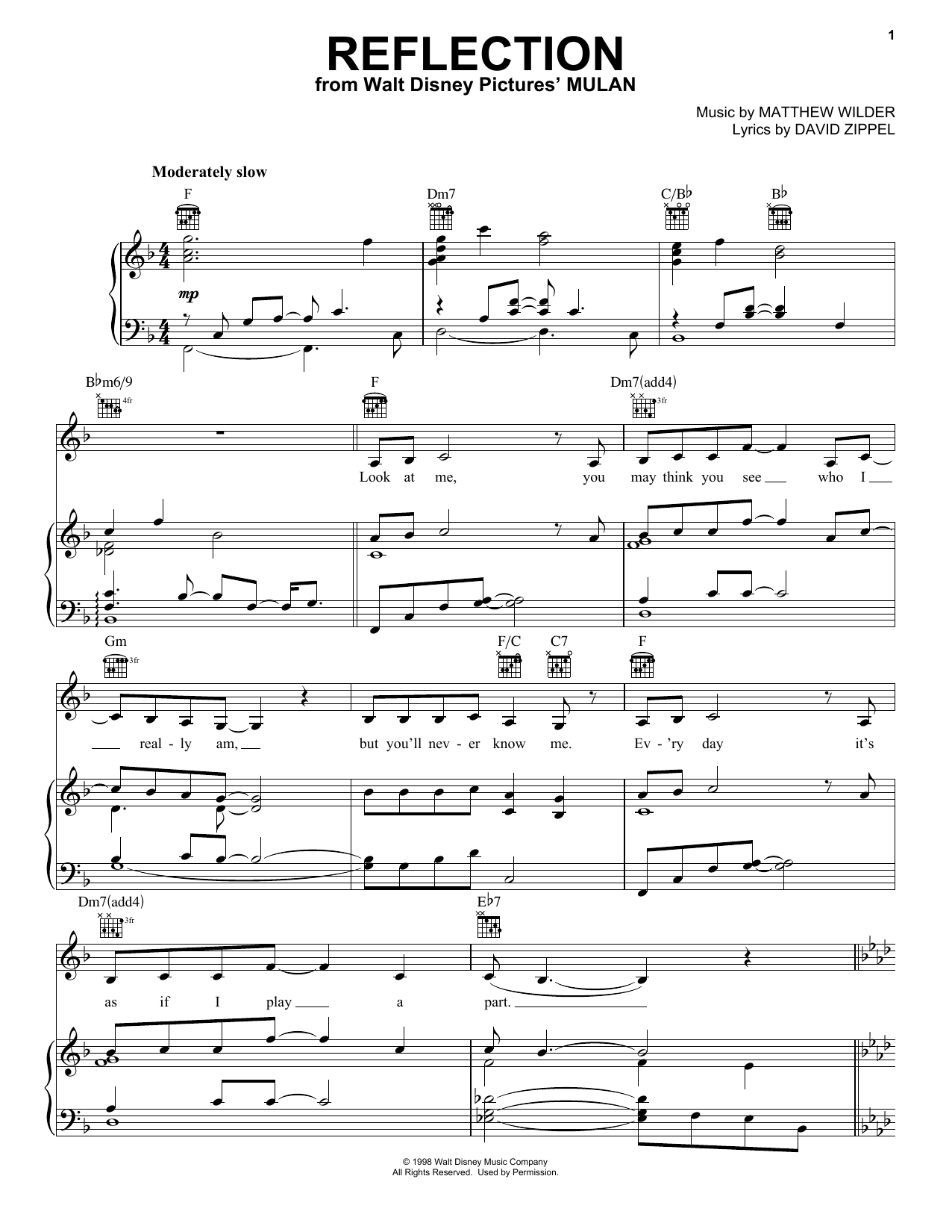 Reflection (Pop Version) (from Mulan) sheet music