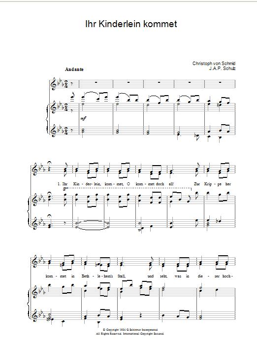 Ihr Kinderlein Kommet sheet music