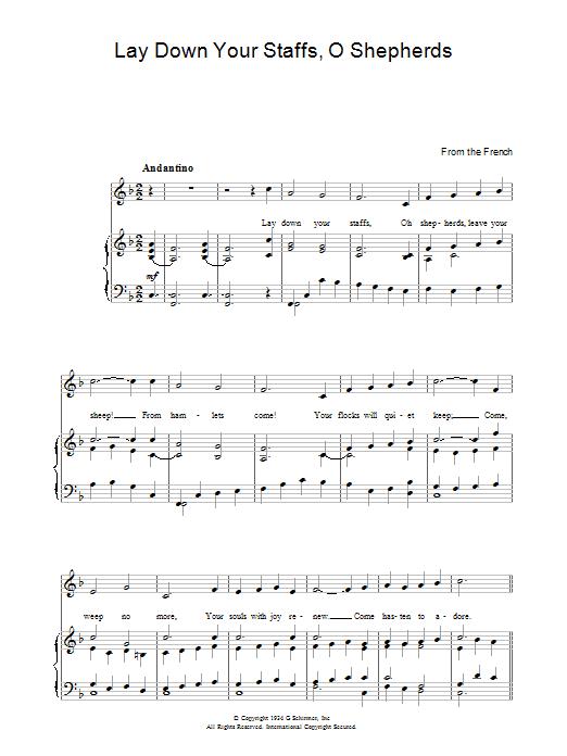 Lay Down Your Staffs, O Shepherds sheet music