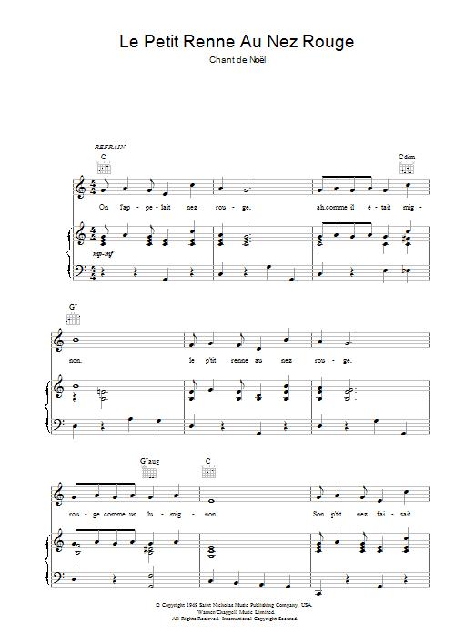Le Petit Renne Au Nez Rouge sheet music