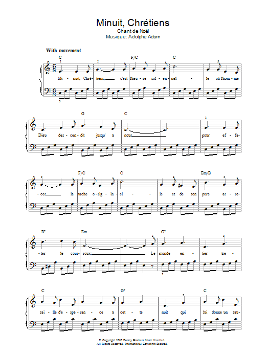 Minuit, Chrétiens sheet music