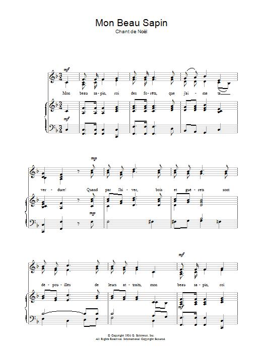 Mon Beau Sapin sheet music