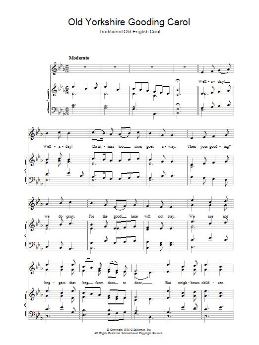 Old Yorkshire Gooding Carol sheet music