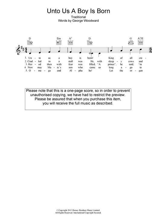 Unto Us A Boy Is Born sheet music