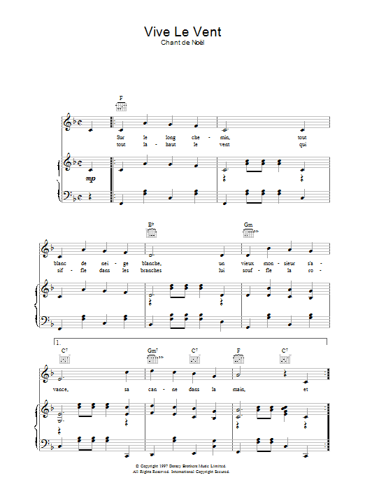 Vive Le Vent sheet music