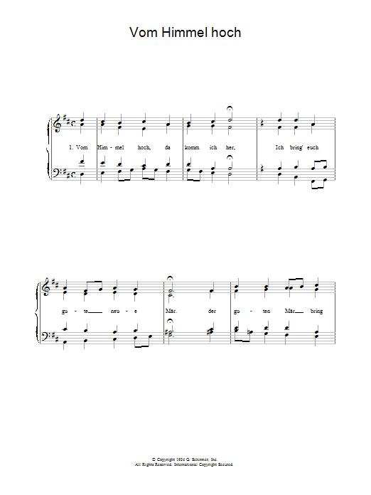Vom Himmel Hoch sheet music
