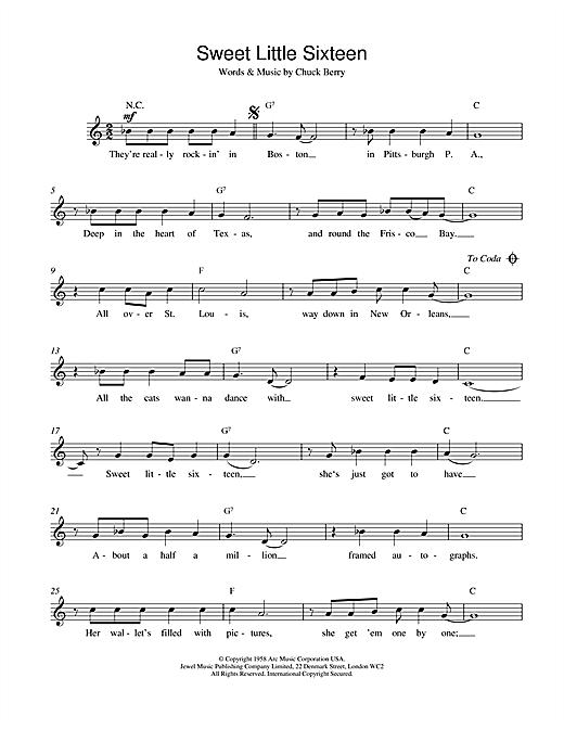 Sweet Little Sixteen sheet music