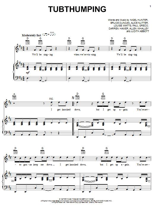 Tubthumping sheet music