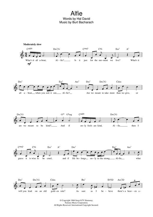Alfie sheet music