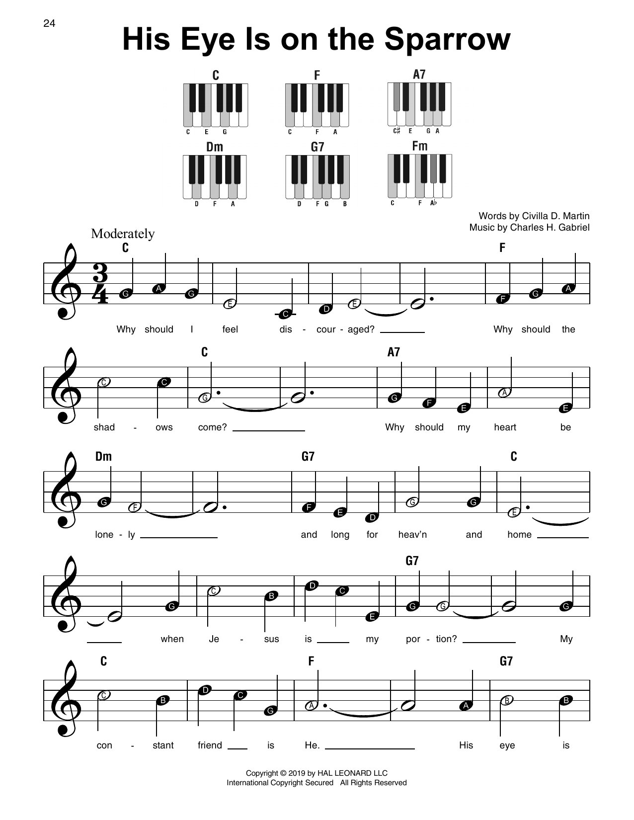 His Eye Is On The Sparrow sheet music
