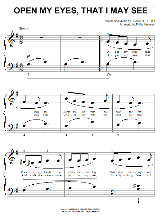 Open My Eyes, That I May See sheet music