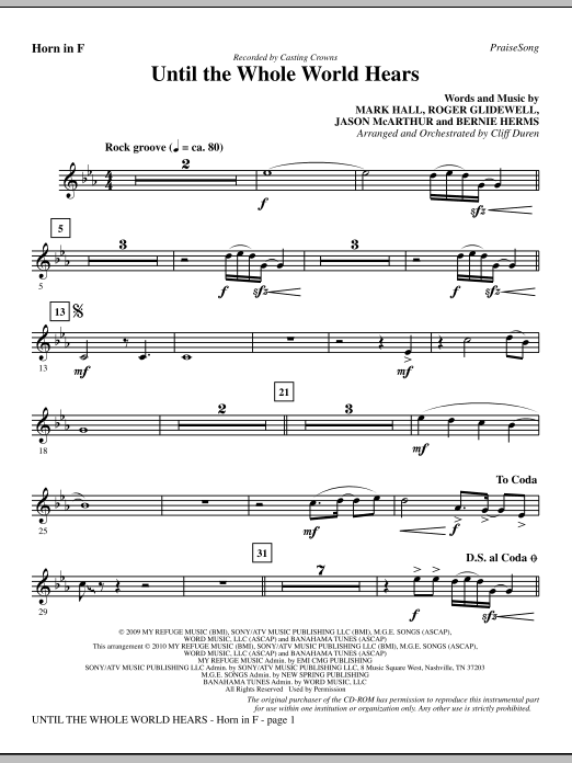 Until The Whole World Hears - F Horn sheet music