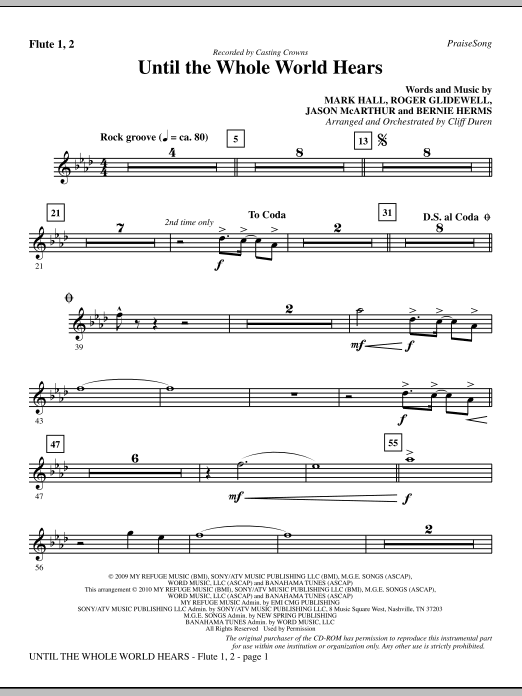 Until The Whole World Hears - Flute 1 & 2 sheet music