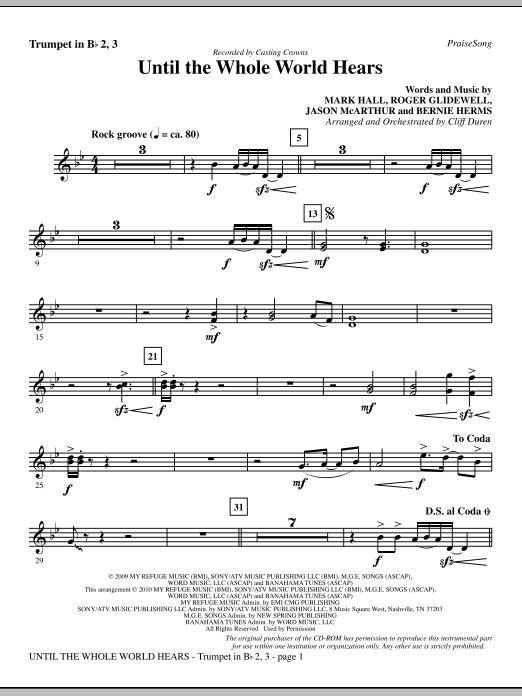 Until The Whole World Hears - Trumpet 2 & 3 sheet music