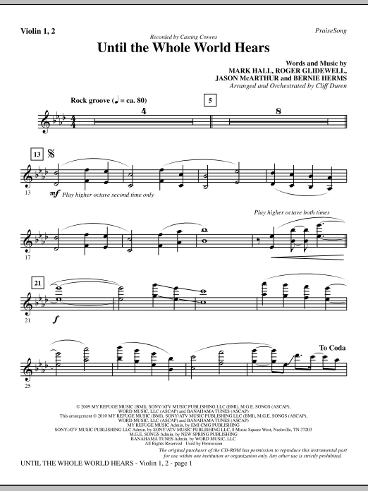 Until The Whole World Hears - Violin 1, 2 sheet music