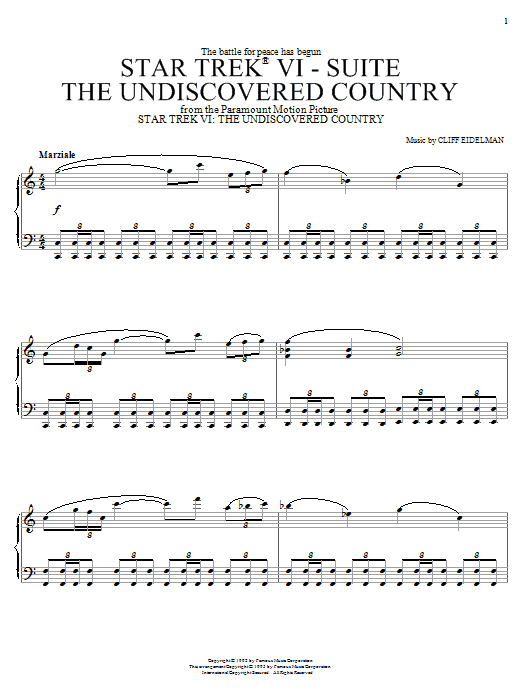 Star Trek(R) VI - The Undiscovered Country sheet music