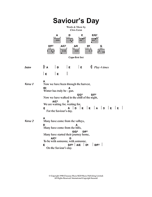 Saviour's Day sheet music