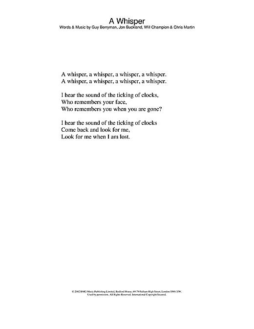 A Whisper sheet music