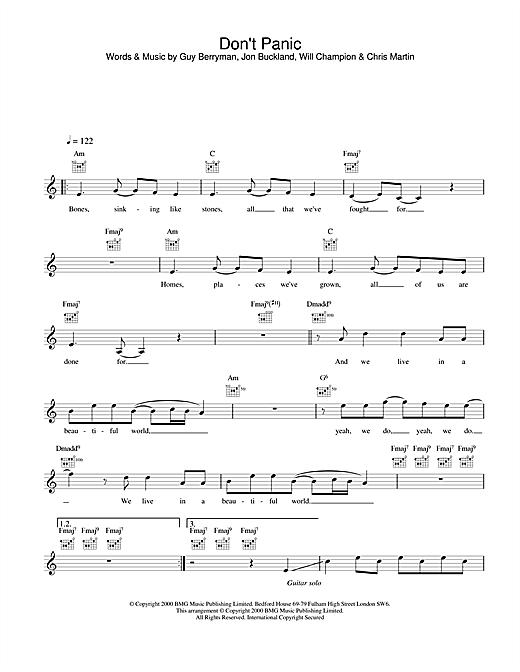 Don't Panic sheet music