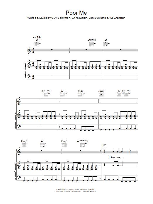 Poor Me sheet music