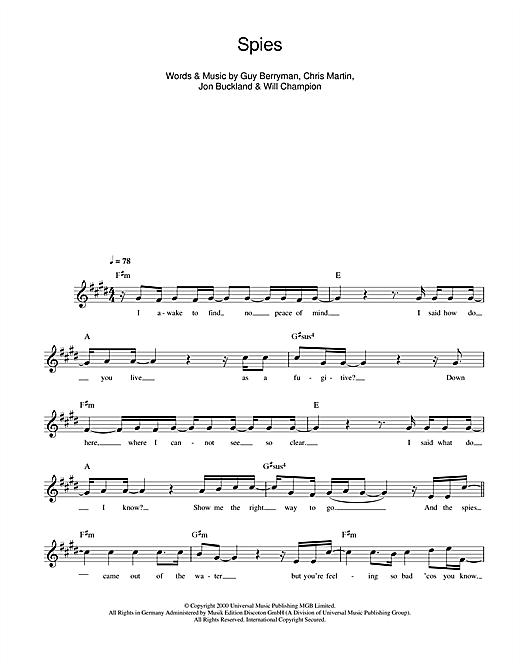 Spies sheet music